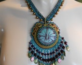 Naughty Dragonfly, OOAK bead embroidered pendant & neckchain embellished with fw pearls
