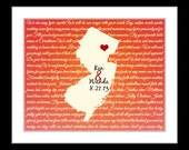 New jersey wall art, 4th anniversary gifts for men, new jersey map art print, day gift for wife to husband gift for wife birthday valentines