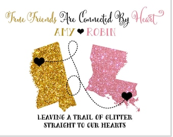 Long distance best friend gifts, custom gift for bridesmaid, maid of honor, best friends, personalized glitter map print, quote wall art