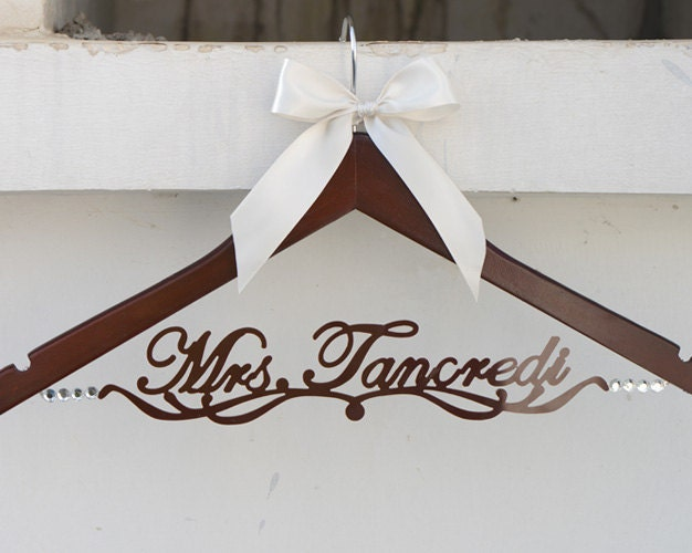 Personalized wedding dress hanger deluxe custom by for Personalised wedding dress hanger