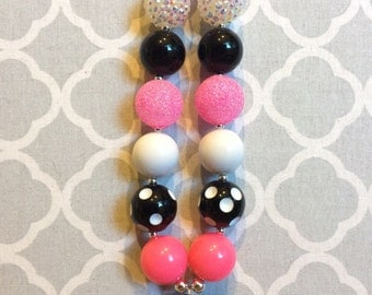 Black and Pink Batman bottlecap chunky beaded necklace