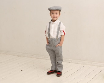 Ring bearer outfit Wedding party outfit Page boy outfit Family photo prop Boys linen suit Linen suspenders Rustic wedding