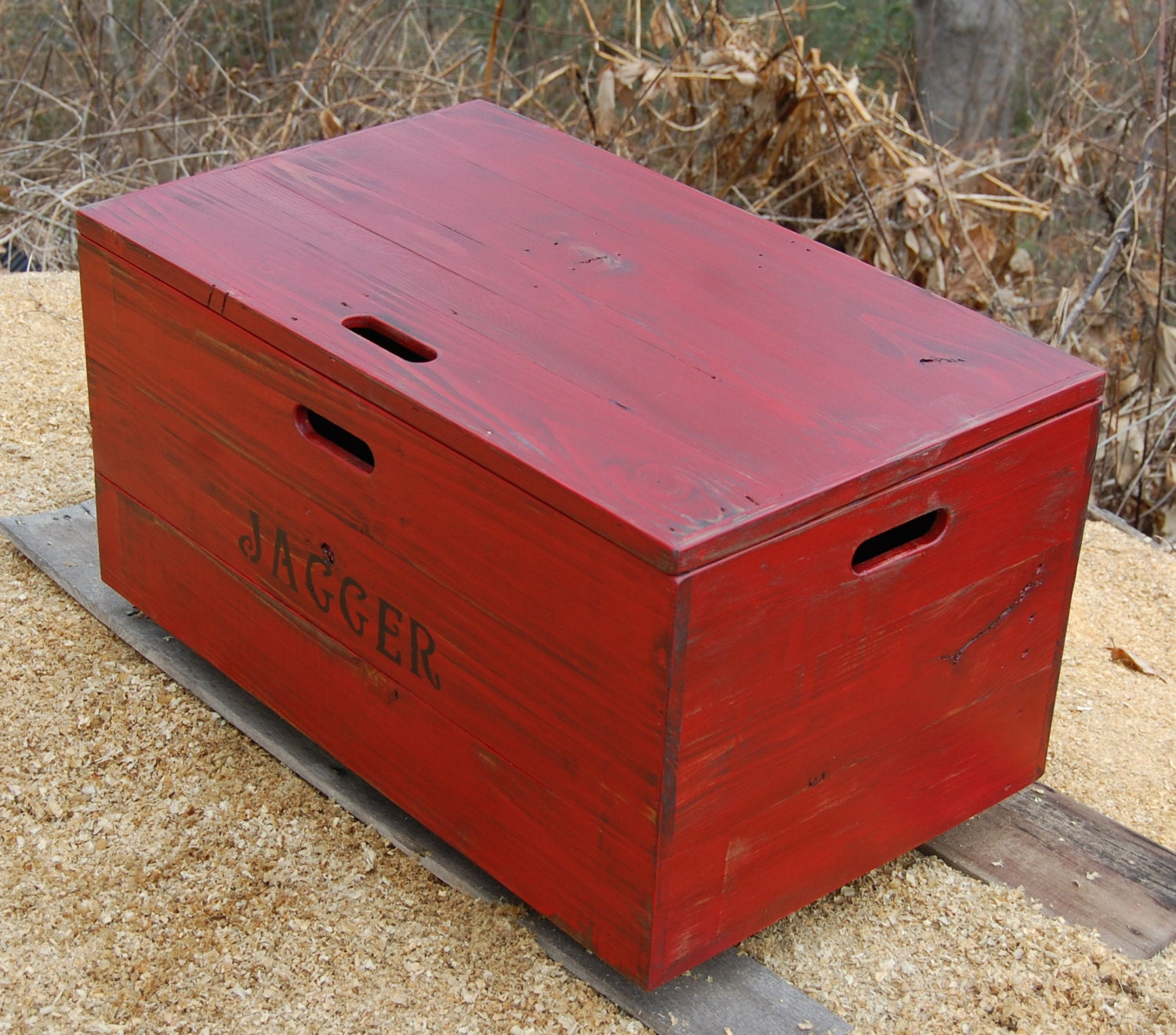 Wooden Crate Coffee Table Toy Chest Storage Box Red