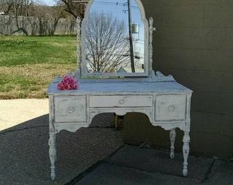 Vintage Vanity,Shabby Vanity,Painted Furniture,Mirrored Vanity,Farmhouse Vanity,Cottage Vanity,Wedding Furniture