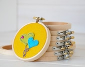 "6 pack - 3"" Wooden Embroidery Hoop - Embroidery Accessorie - Wooden Hoops - Mini Wooden Hoops"