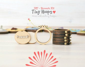 "DIY Brooch Kit - Mini Embroidery Hoop Frame with Brooch - 1.6""/4CM Hoop - Miniature Embroidery Hoops - Mini Hoop Frame - DIY Mini Brooch"