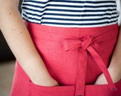 Red cafe apron - red linen apron - red women apron - linen cafe apron - short apron -