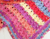 Crochet Pattern, Rows of Posies Blanket, Afghan, Baby, Throw