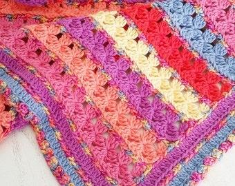 Crochet Pattern, Rows of Posies Blanket, Afghan, Baby, Throw