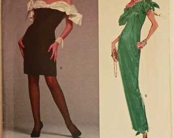 """Evening Dress by Victor Costa  -1990's - Vogue Pattern 2588  Uncut   Sizes 12-14-16  Bust 34-36-38"""""""