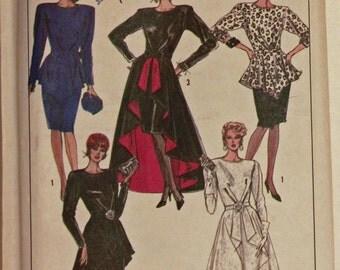"""Dress, Detachable Peplums - 1980's - Simplicity Pattern 8899 Uncut  Size 12  Bust  34"""""""