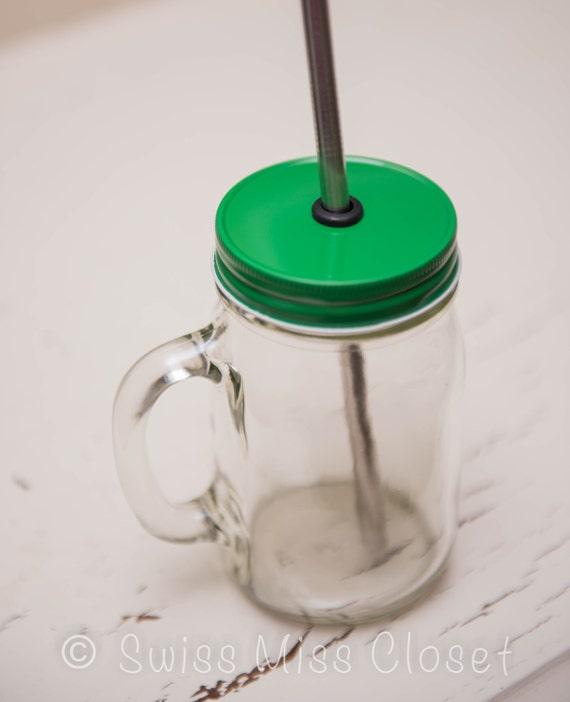 Green One Piece Regular Mouth Lid DIY Drinking Jars, Weddings, Parties, Everyday Use