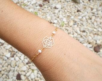 Delicate pearl bracelet, Gold rose bracelet, Delicate gold bracelet