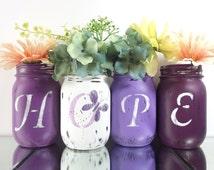 HOPE, Purple Vase Set, Hand Painted Mason Jars - Lupus Awareness Decor -- Distressed, Butterfly Decor