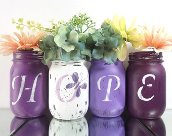 HOPE, Purple Mason Jars, Painted Mason Jars, Lupus Awareness, Butterfly Decor, Colorful Home Decor, Butterfly Decorations, Distressed Decor