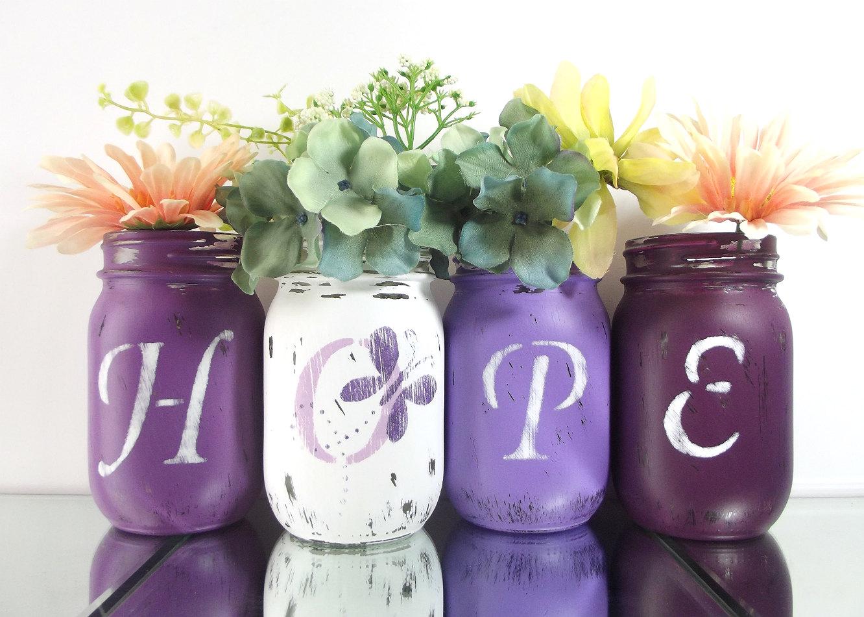 hope purple mason jars painted mason jars lupus awareness. Black Bedroom Furniture Sets. Home Design Ideas