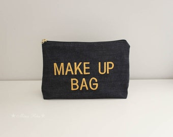 Make Up Bag Cosmetic Case Accessory Pouch Zippered Denim Purse Pouch Embroidered Clutch