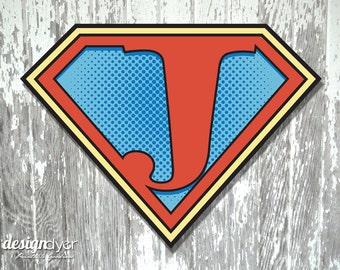 """Superhero Initial """"J"""" Sign Large 26""""X20"""" DIY Printable Instant Download"""