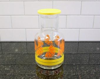 Orange You Glad... Vintage Libby Juice Carafe / Jar with Lid; Orange Slices and Yellow Stripes