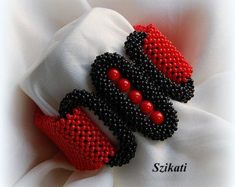 10% SALE! Red/Black Statement Beadwoven Cuff Bracelet, Beaded High Fashion Jewelry, Women's Accessory, Right Angle Weave, Gift for Her, OOAK