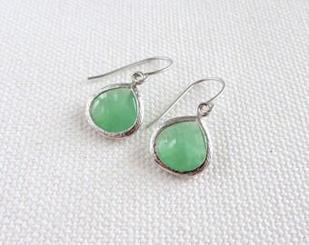 Mint Green Dangle Earrings, Silver Pastel Dainty Modern Earrings