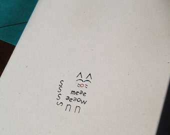 MEEEEEOW Letterpress Cat Card