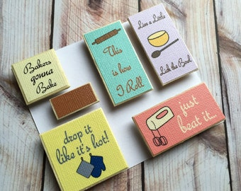 Baking Quotes Fridge Magnet, Bakers Humor, Funny Cooking Puns, Handmade Set