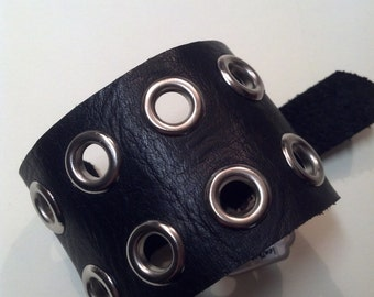 Black Leather Eyelet Cuff