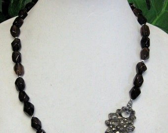 Smoky Quartz Necklace - Smoky Quartz Statement Necklace - Unqiue Smoky Quartz Necklace with Custom Pewter Focal