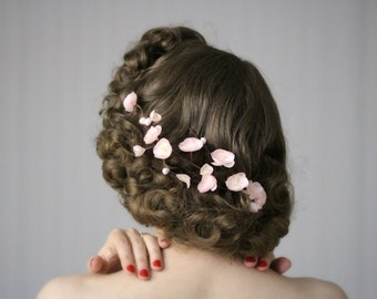 """Cherry Blossom Hair Clip Fascinator, Blush Pink Flower Headpiece, Vintage Wedding Floral Accessory - """"Spring's Sweet Kiss"""""""
