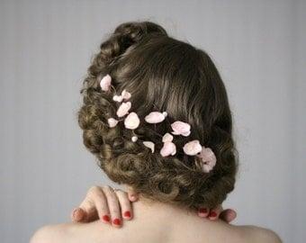 "Cherry Blossom Garland, Hair Clip Blush, Fascinator Flower Wreath, Pink Headpiece Bridesmaid, Vintage Wedding - ""Spring's Sweet Kiss"""