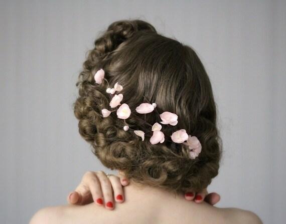 "Kirschblüte Haar Clip Fascinator, Blush rosa Blume Headpiece, Vintage Wedding florale Accessoire - ""Spring's süss Kiss"""