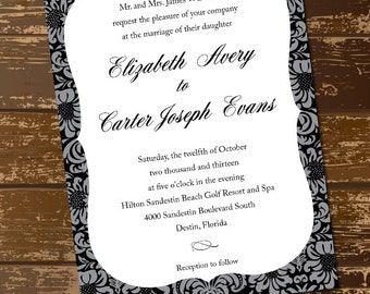 Black and Grey Floral Pattern Wedding Invitation, Fancy, Script, Elegant, Marriage, Celebration - Custom Digital File