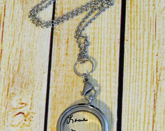 Personalized Locket and chain - Actual signature of your loved one or Circle Monogroam