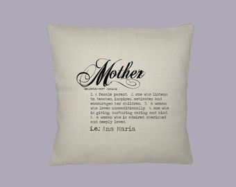 Personalized Definition Mother, Mothers Day, Gift, Typography Handmade 16x16 Pillow Cover - Choice of Fabric - image in ANY COLOR