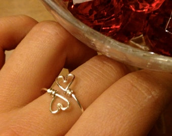 Double Heart Midi or Regular Ring - gold or silver