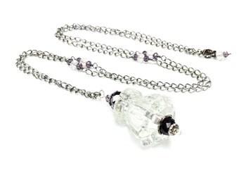 Antique hardware necklace glass drawer pull necklace vintage assemblage necklace