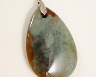 Fancy Agate Teardrop Pendant, 67mm x 34mm, Agate Pendant, 2-5/8 inch Stone Pendant, Jewelry Supply