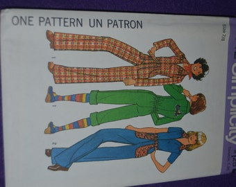 Vintage 70s SImplicity 7642  Young Junior Teens  Jumpsuit Sewing Pattern  - UNCUT Size 7/8