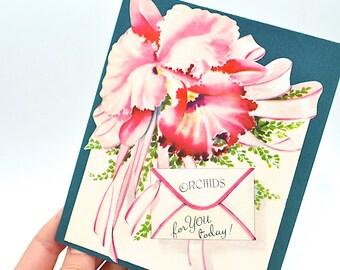 Vintage Birthday Card, Unused, Happy Birthday, Birthday Card for Couple, Girl Birthday Card, Vintage Greeting Cards, Orchid Birthday Card