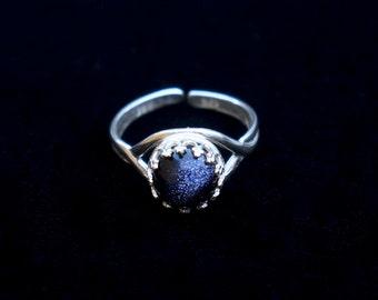 Blue Gold Stone Cosmic Ring
