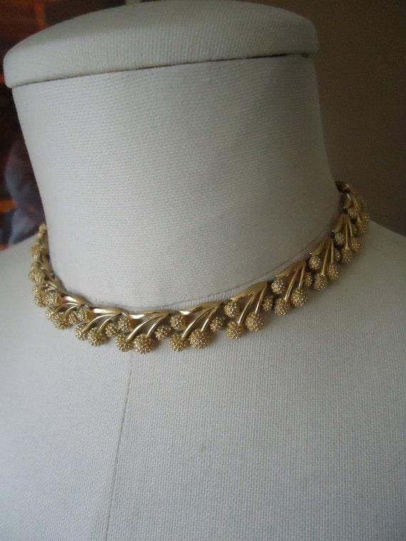 Vintage crown trifari austrian crystal necklace and earrings - Vintage Trifari Floral Necklace Designer By Sarasvintageattic