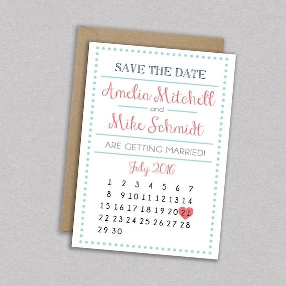 Diy Calendar Save The Date : Diy printable wedding save the date dots by mintcloudllc
