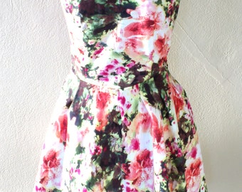 MADE TO ORDER/ Retro Inspired Sweetheart floral dress/ Circle skirt dress Pleated/ Casual/ Green Pink/ Sleeveless/ Spring Summer