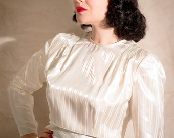 1930s Long Sleeve Satin Blouse // Bow Detail // Cream Jacquard Striped Satin Fabric // Eveningwear