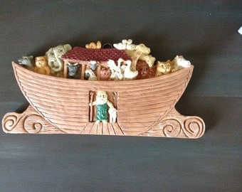 Noahs Ark Wall Plaque - Noah's Ark Wall Hanging - Baby Nursery - Childs Room - Noah's Ark