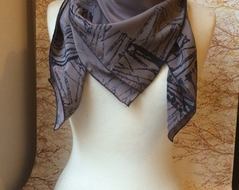 UNIQUE Hand Block Printed Scarf, Blue on Dark Grey -100% Silk Scarf