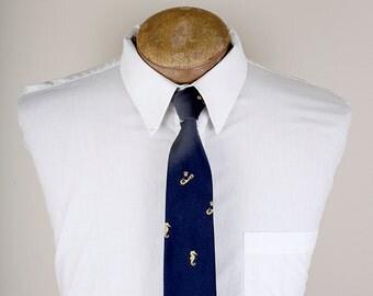 1980s Era Navy Seahorse Bermuda English Sports Shop Brand Necktie
