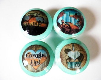 Set of 4 Western Cowgirl Drawer Knobs..Rustic Distressed Furniture & Cabinet Pulls Nail Covers for Country Girls. Choose Your Color