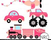 Valentine Clipart Clip Art - Valentine Vehicles Car Airplane Monster Truck Train Clip Art, Commercial Use